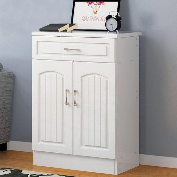 Wooden Shoe Storage Cabinet 1 Drawer 2 Doors