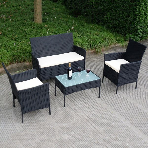 4 Pieces Outdoor Wicker Rattan Table Chair Set