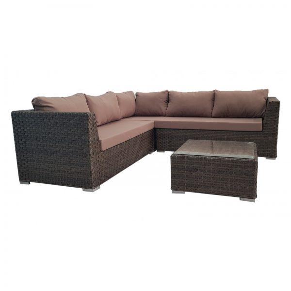 Brown Outdoor Wicker Rattan Sofa Corner Lounge Set Victoria Living