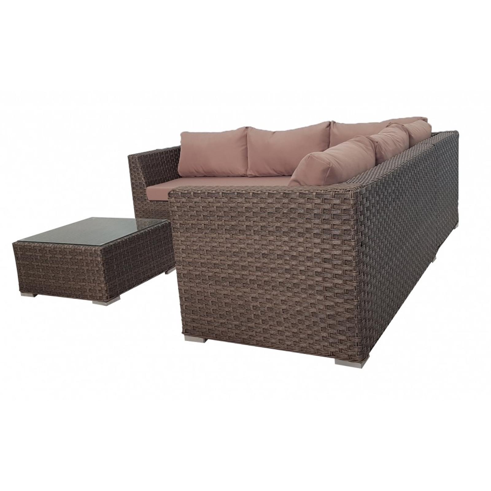 Rattan Corner Sofa Abreo: Brown Outdoor Wicker Rattan Sofa Corner Lounge Set