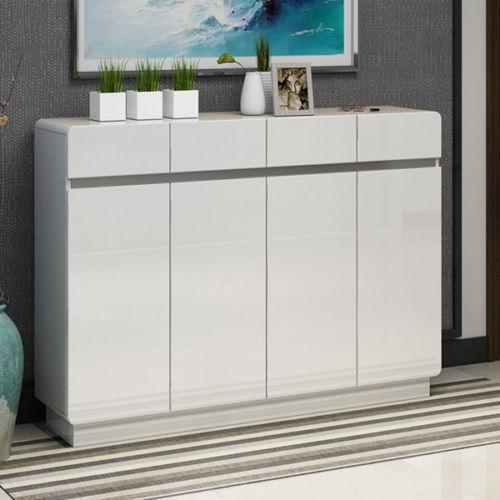 4 Door White Stoving Varnish High Gloss Shoe Cabinet