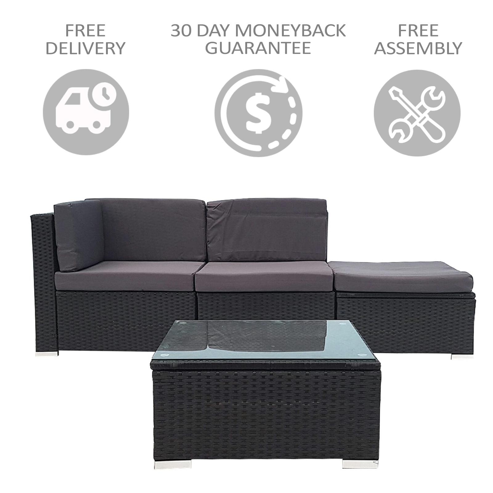 Tremendous 4 Piece Wicker Outdoor Pe Rattan Furniture Sofa Set Home Interior And Landscaping Ologienasavecom