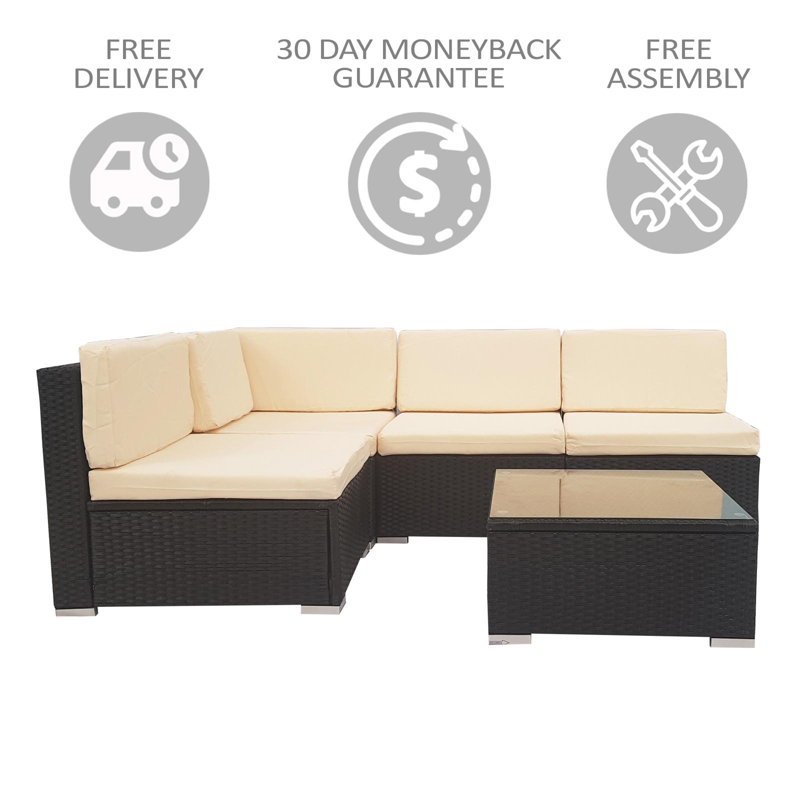 Awe Inspiring 5 Piece White Rattan Wicker Outdoor Furniture Sofa Set Lamtechconsult Wood Chair Design Ideas Lamtechconsultcom