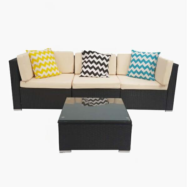 4 Piece White Rattan Wicker Outdoor Furniture Sofa Set