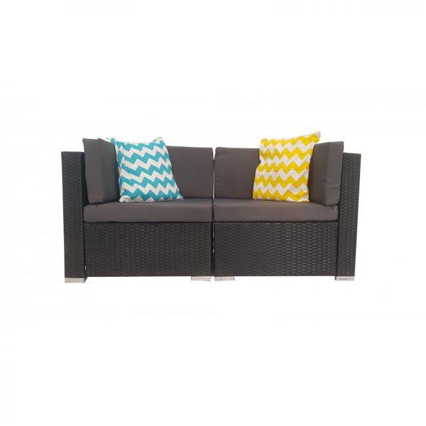 2 Piece Black Outdoor Corner Sofa Sets