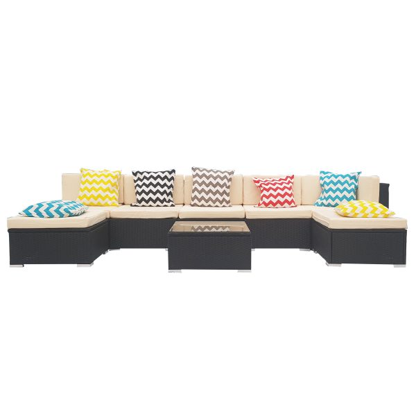 8 Piece White Wicker Outdoor PE Rattan Furniture