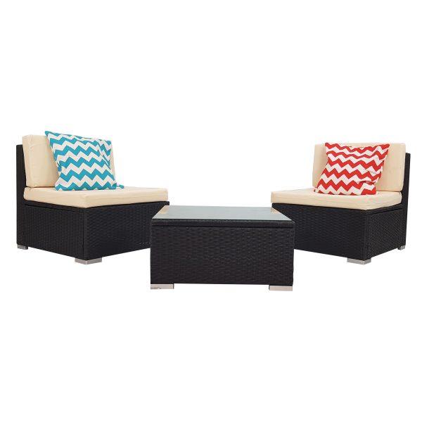3 Piece White Rattan Wicker Outdoor Furniture Sofa Set