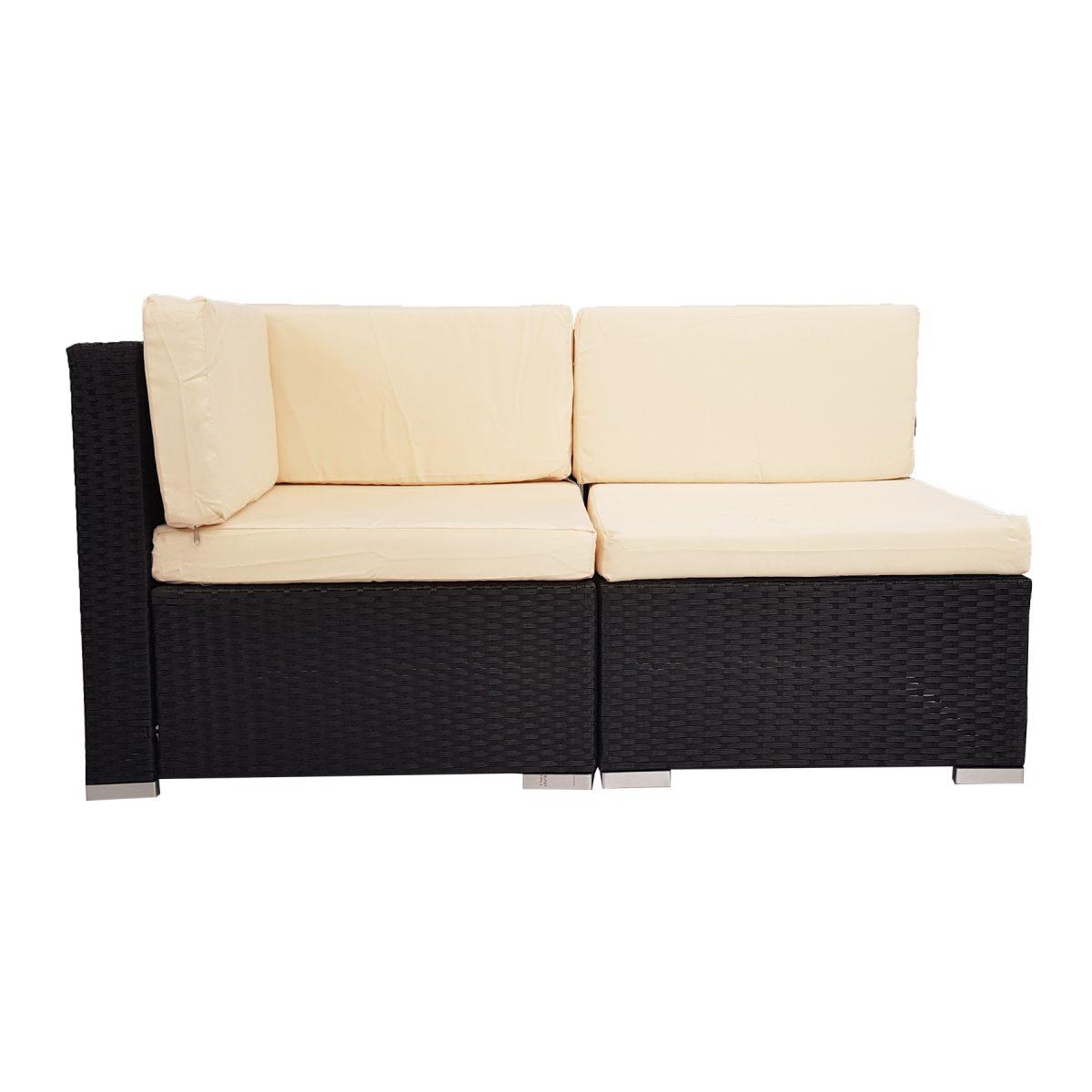 2 Piece White Rattan Wicker Outdoor Furniture Sofa Set