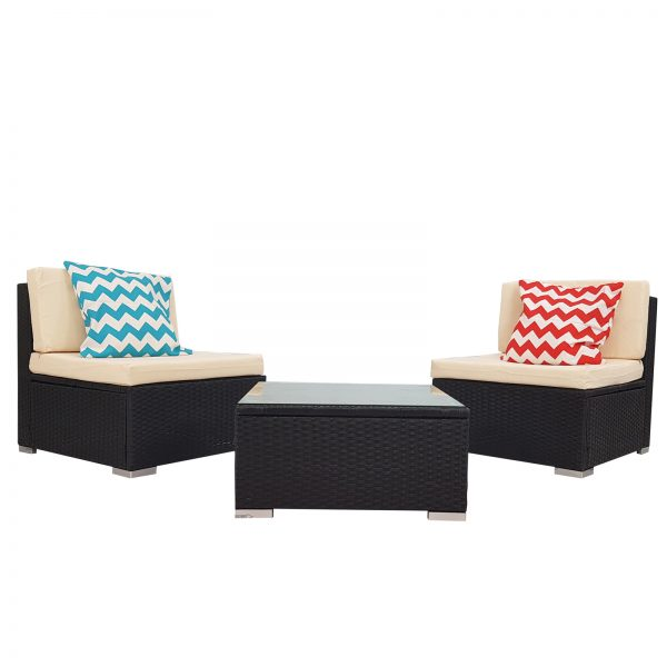 3 Piece White Rattan Wicker Outdoor Furniture Sofa Set