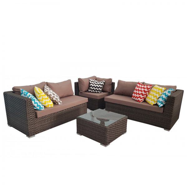 Brown Outdoor Wicker Rattan Sofa Corner Lounge Set