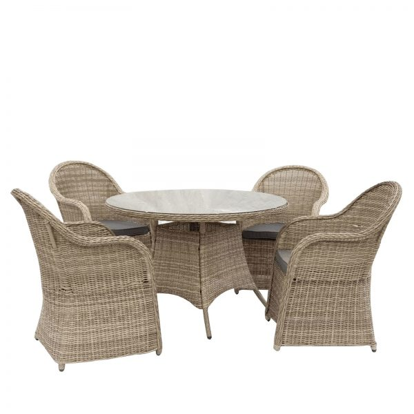 5 Piece Outdoor Rattan Wicker Dining Table Set