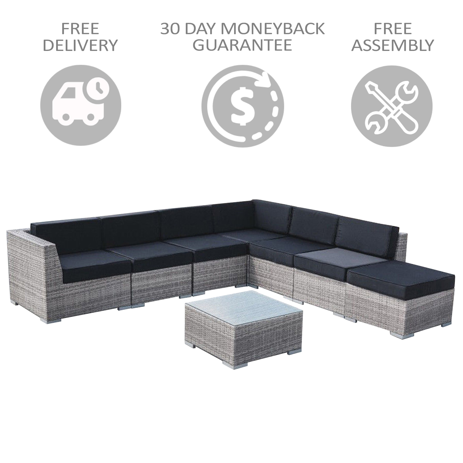 8 Piece New Wicker Rattan Garden Set Outdoor Sofa Lounge