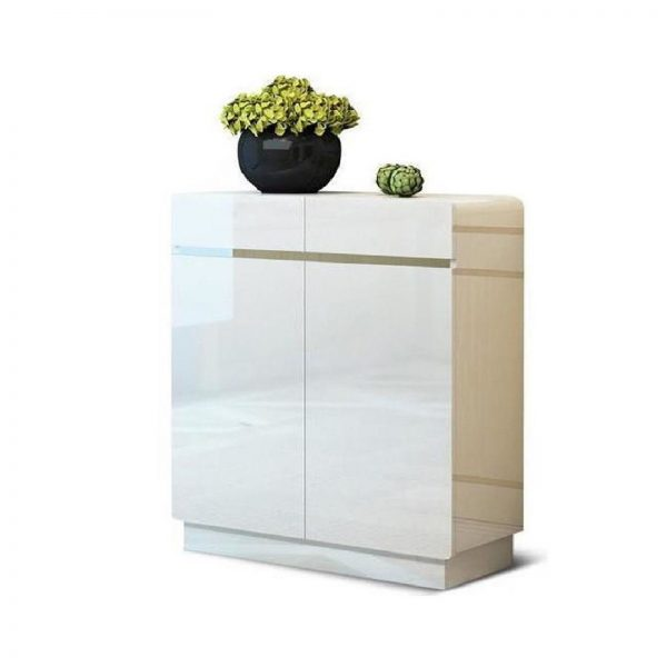 High Gloss 2 Door Storage Cabinet Shoe Rack White