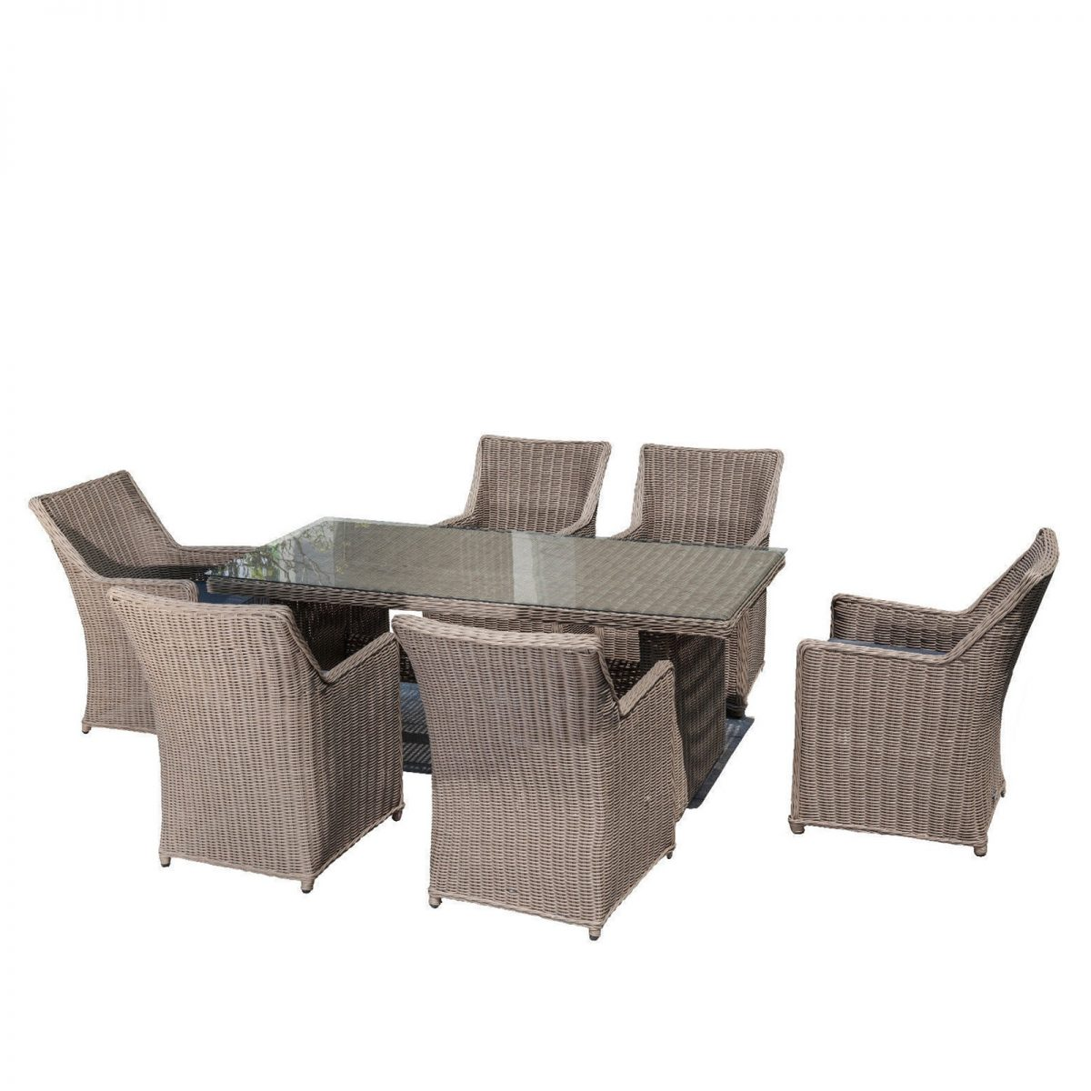 7 Piece Outdoor Rattan Wicker Dining Table Set