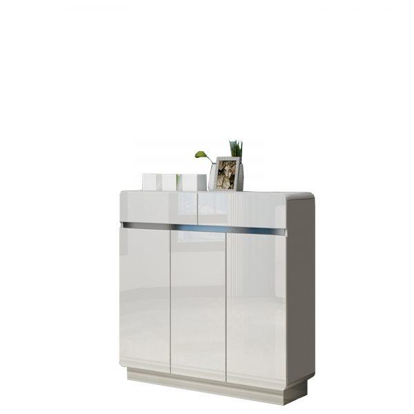 3 Door High Gloss White Wooden Storage Shoe Cabinet