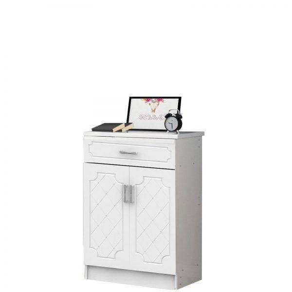 Wooden Shoe Cabinet 2 Doors 1 Drawer Storage Organizer